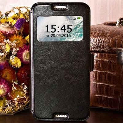 Чехол для HTC Desire 526G книга с окошком Experts Slim Book Case, черный
